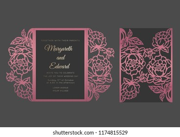 Gate fold invitation template with peonies. Floral Wedding invite envelope design. Pocket envelope vector cutting pattern for wedding invitations.