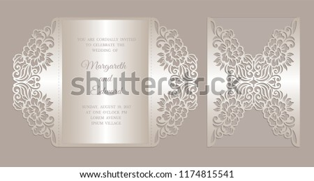 gate fold invitation template peonies floral stock vector royalty