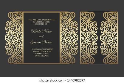 Gate fold laser cut wedding invitation. Vector template for laser cutting.