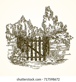 The gate to the garden. Vintage style. Vector illustration.