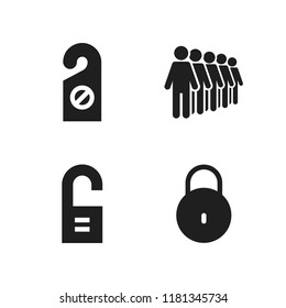 gate icon. 4 gate vector icons set. doorknob, queing and lock icons for web and design about gate theme