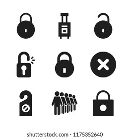 gate icon. 9 gate vector icons set. luggage, queing and open padlock icons for web and design about gate theme