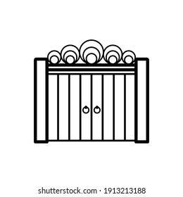 Gate icon. Front view. Black contour linear silhouette. Vector flat graphic illustration. The isolated object on a white background. Isolate.