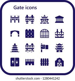 gate icon set. 16 filled gate icons. Simple modern icons about  - Bridge, Pagoda, Pantheon, Stari most, Fence, Gate, China, Elevator, Barn