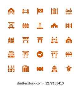 gate icon set. Collection of 25 filled gate icons included Scarecrow, Chiang kai shek, Fence, Elevator, Bridge, Torii, China, Shrine remembrance, Tower bridge, Torii gate, Holsten