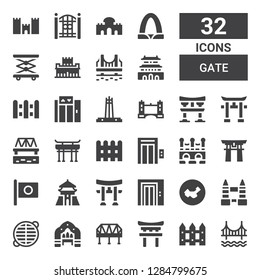 gate icon set. Collection of 32 filled gate icons included Golden gate, Fence, Torii, Bridge, Arch, Grate, Tower bridge, China, Elevator, Chiang kai shek, Japan, Torii gate, Quezon memorial circle