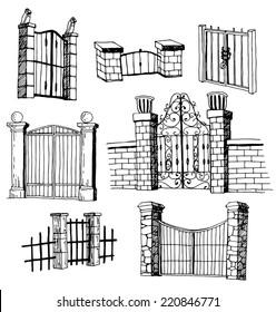 gate icon Set, vector illustration