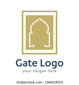 Gate logo door home entrance icon black house doorway or real estate business. minimal design. future modern construction company. concept symbol vector illustration - Vector