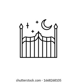 Gate, night, moon icon. Simple line, outline vector elements of city for ui and ux, website or mobile application
