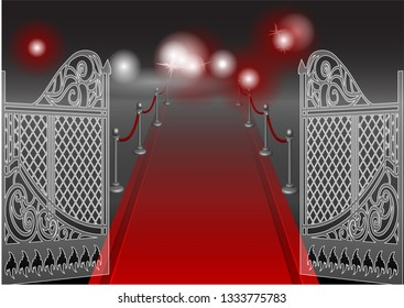 gate and red carpet on dark background