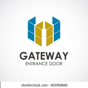 Gate ribbon of entrance abstract vector and logo design or template door business icon of company identity symbol concept