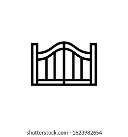 Gate vector icon, gate icon symbol sign in outline, lineart style on white background