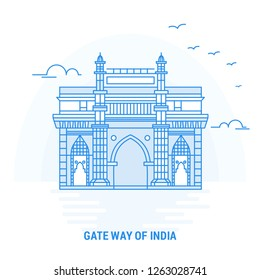 GATE WAY OF INDIA Blue Landmark. Creative background and Poster Template