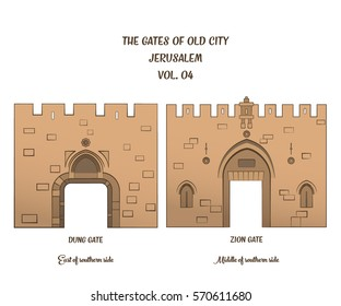 The gates of the Old City of Jerusalem, Dung Gate and Zion Gate. Vector illustration