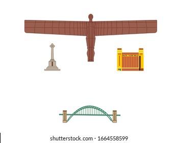 gateshead city most important landmarks vector