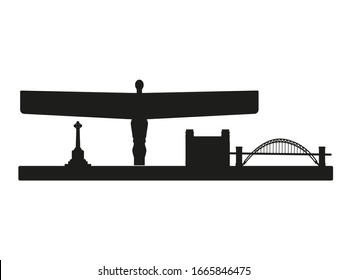gateshead city skyline vector with its most important monuments