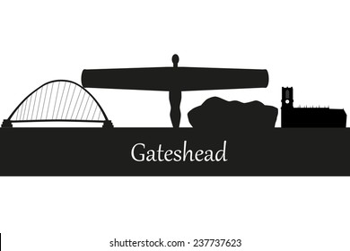 Gateshead in England city skyline silhouette vector illustration