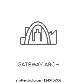 Gateway arch linear icon. Modern outline Gateway arch logo concept on white background from Architecture and Travel collection. Suitable for use on web apps, mobile apps and print media.