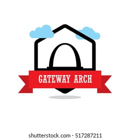 Gateway Arch Ribbon banner with clouds. Landmarks vector collection.