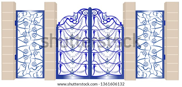 A gateway to the house made up of a large section in the middle for the vehicles and two smaller for pedestrians, the gates have a metallic ornamental string and are hung on sandstone columns.