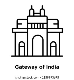 Gateway of India icon vector isolated on white background, Gateway of India transparent sign , line or linear sign, element design in outline style