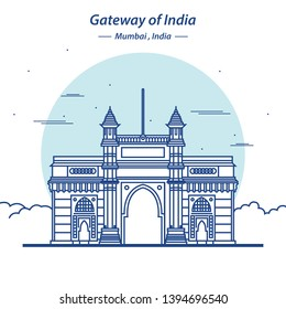gateway of India Mumbai line art