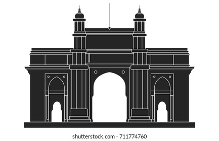 Gateway of India outline vector drawing