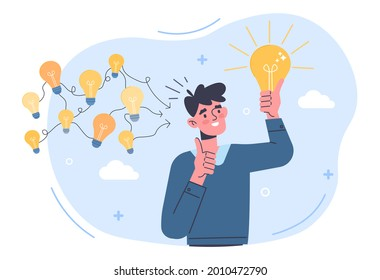 Gather ideas concept. Man came up with several ideas and chose the best one. Metaphor for brainstorming and creative thinking. Cartoon modern flat vector illustration isolated on a white background