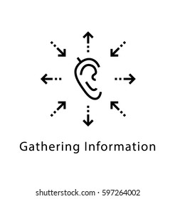 Gathering Information Vector Line Icon