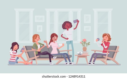 Gathering of women for hen party or fun. Group of female friends hang out at home, enjoy music, drink, socialize, attractive girls relax in amusement, enjoyment. Vector flat style cartoon illustration
