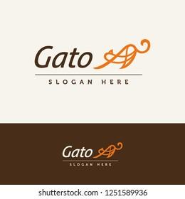 Gato logo. Silhouette brown orange cat logotype. Stretching cat template