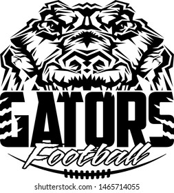 gators football team design with half mascot and laces for school, college or league