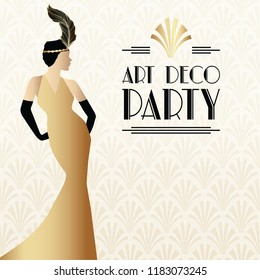 Gatsby Art Deco Illustration Design with Women in Gold