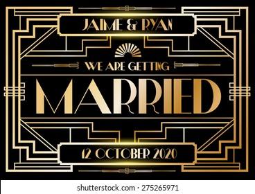 gatsby/ art deco wedding invitation card template vector/illustrator