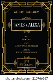gatsby art deco wedding invite background