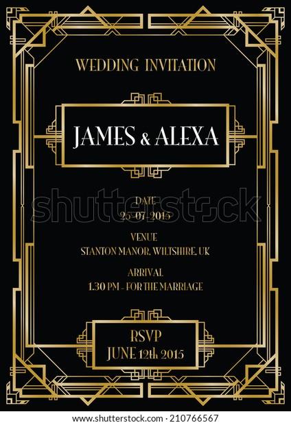 gatsby art deco wedding invite background