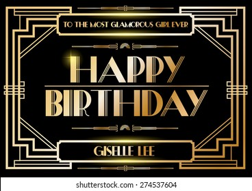 Gatsby invitation images stock photos vectors shutterstock gatsby birthday greetings template vectorillustration stopboris