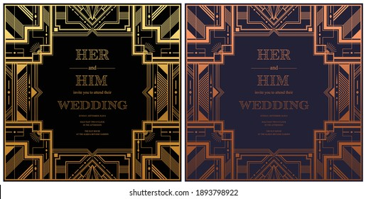 Gatsby card greetings template Art deco geometric vintage frame can be used for invitation, congratulation great gatsby party themes elements gold and  Copper color with craft style on background.