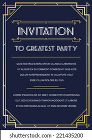 Gatsby Style Invitation in Art Deco or Nouveau Epoch 1920's Gangster Era Boardwalk Empire Vector