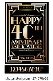 gatsby wedding anniversary card/poster template vector/illustration
