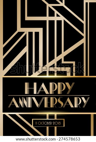 gatsby wedding anniversary cardposter template vectorillustration