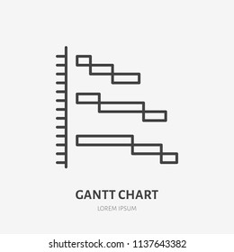 Gatt chart flat logo, project management icon. Data visualization vector illustration. Sign for business infographic.
