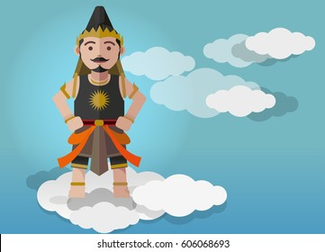 Gatutkaca puppet characters in a cartoon style, was flying above the clouds.
