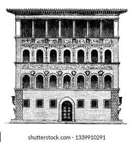 Gaudagni Palace at Florence palaces of a smaller type a more habitable appearance the quoins of the façade vintage line drawing or engraving illustration.
