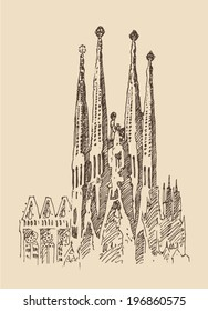 Gaudi's Cathedral, architecture in barcelona, vintage engraved illustration, hand drawn, sketch