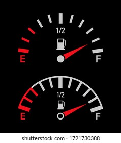 Gauge of fuel. Guage of gas or petrol. Full or empty tank of gasoline or diesel in car. Indicators with arrow on dashboard in truck. Panel of measurement power. Automobile and drive background. Vector