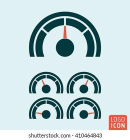 Gauge icon. Speedometer or rating meter symbol. Vector illustration