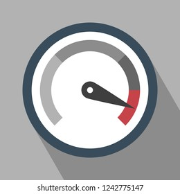 Gauge Icon. Gauge Icon vector isolated on Gray background. Gauge Icon with Long Shadow. Vector icon speedometer. All in a single layer. Flat design style. Vector illustration. Elements for design.