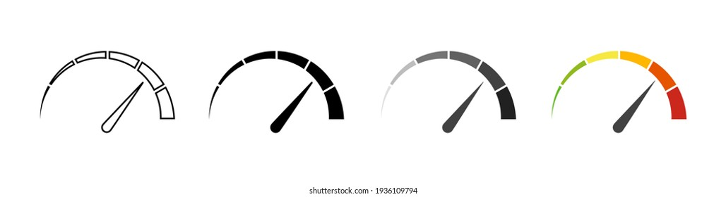 Gauge icons. Speedometer vector isolated signs. Customer satisfaction indicator level. Risk level gauge. Stock vector. EPS 10