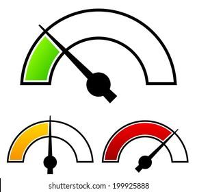 Gauge, meter templates. Pressure gauge, level concepts.